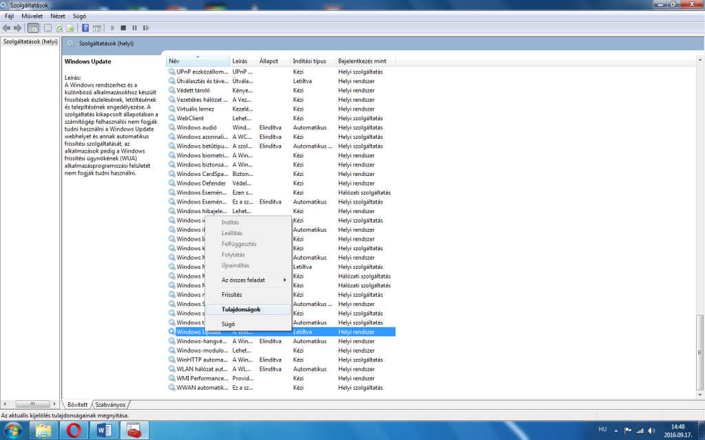 Windows Update kikapcsolása