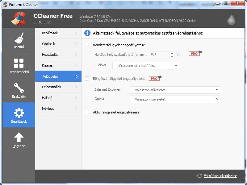CCleaner beállítása